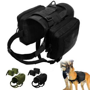 Strong Tactical Medium Large Dog Vest Harness with 2 Pouch Bags for Outdoor Walk