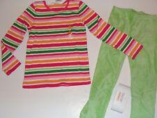 Gymboree Cheery All The Way Girls Size 6 Top Stripe Green Velour Leggings NWT