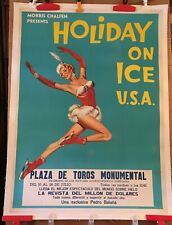 ICE SKATING POSTER - HOLIDAY ON ICE - PINUP ART - LINEN BACKED - 1950 ORIGINAL