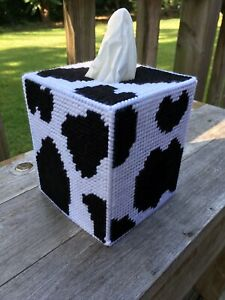 Cow print Tissue Cover  Black and White handmade canvas