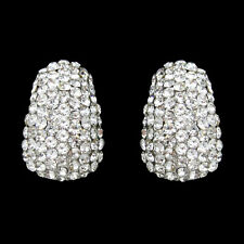 BRAND NEW GENUINE 18K WHITE GOLD PLATED AUSTRIAN PAVE CRYSTAL CLIP-ON EARRINGS