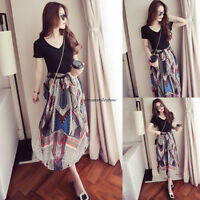 2X Summer Lady Chiffon V Neck A Line Slim Beach Long Maxi Party Skirt Boho Dress
