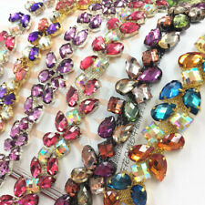50cm AB Color Glass Rhinestones Claw Chain Crystal Trimming  Garment Accessories