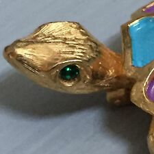 Vintage Signed JEANNE Green Eyed Painted Turtle Tortoise Gold Tone Pin Brooch