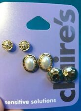 Three Pairs Claire's Round Gold Tone Oval Gold Faux Pearl Pierced Earrings New