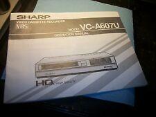 SHARP VC-A607U Owners Manual,ORIGINAL COPY!