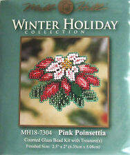 Mill Hill Cross Stitch Bead Kit Christmas 'Pink Poinsettia' Pin 18-7304
