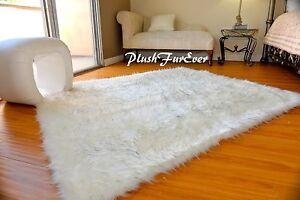 6x7 Black Tip Polar Bear Sheepskin Plush Shaggy Nursery Area Rectangle Rug Decor