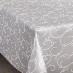 Plain Silver Grey Embroidered White Damask Swirls Pvc Vinyl Table Cloth Modern
