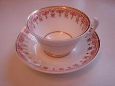 antike Kaffeetasse mit Untertasse, weiss mit rot-goldenem Dekor, handgemalt