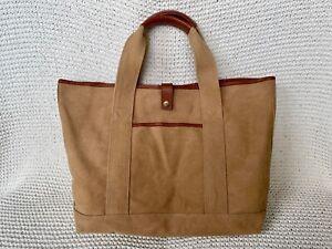 Levenger Tote Bag Khaki Tan w/Leather Trim, Snap Closure, Pockets, Good Cond