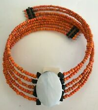 """and Orange Bead 6"""" Necklace African African Wood with Mother-of-Pearl Inlay,"""