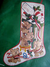 Crewel Stitchery Needle Treasures Christmas STOCKING KIT,PLAYFUL BEARS,00833,18""