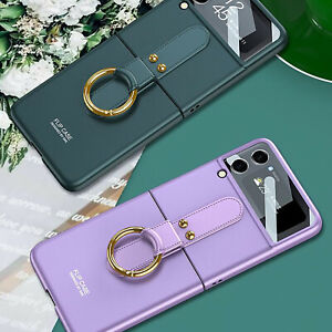 PC Simple Phone Cases Protective Cover With Ring Holder Spare for Samsung Zflip3