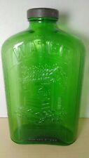 Owens-Illinois Green Depression 1qt Refrigerator Water Bottle - Embossed Well