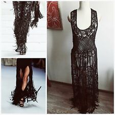 SOUTH Boho Crochet Black Crafted Burning Man Festival Fringe Tassel Maxi Caged