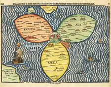 MAP ANTIQUE 1581 BUNTING CLOVER LEAF WORLD ATLAS REPLICA POSTER PRINT PAM0006