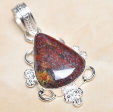 "Handmade Natural Bloodstone Jasper 925 Sterling Silver Pendant 2"" #F00286"