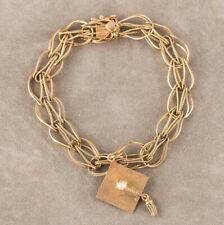 Vintage 14ct Yellow Gold Bracelet & MortarBoard Graduate Cap Charm