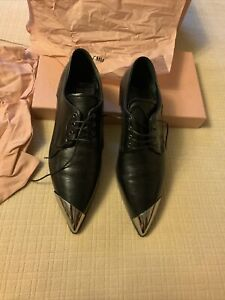Miu Miu Black Leather & Metal Dress Shoes NIB Size 38-1/2 US 8 w/Shoe Bag