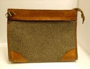 Vintage Hartmann Luggage Tan Large Tweed Leather Tote Train Overnight Bag EUC
