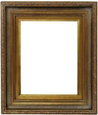 Basile Handmade Wood Picture/Frame Scoop-Ribbed Antique Gold W/Gold Liner 8x 10.