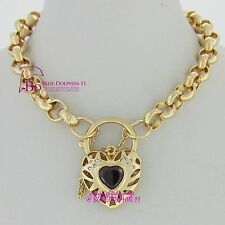 Solid 18k Yellow Gold GF Bracelet Belcher Chain Clasp Padlock Simulated Diamonds