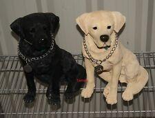 More details for large sitting labrador retriever dog ornament figure - golden lab black labrador
