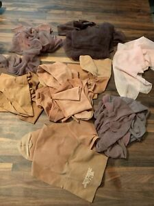 Lot of 7 pair Vintage Thigh High Nylon Stockings Support Hose Pink Brown Tan