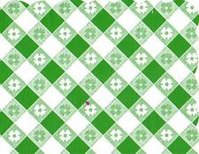 48 Plastic Scalloped Placemats Dinner Size Place Mats - Green Gingham