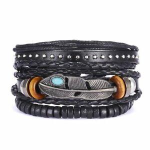 3pcs Fashion Mens Punk Leather Leaf Wrap Braided Wristband Cuff Bangle Bracelet