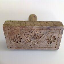 Old wooden butter stamp pat former flower