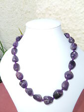 "Chunky Natural Amethyst Quartz Necklace, 18"", 110g"