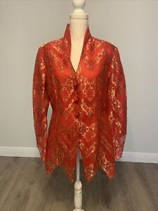 Zang Toi Couture Vintage Red & Gold 2 Piece Jacket and Pants - Size 12 - NEW
