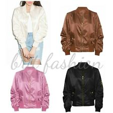 Womens Ladies Light Weight MA1 SATIN SHELL BOMBER Biker Retro JACKET Coat lot c1