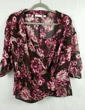New York And Company Woman's Sheer blouse Medium with sheer shelf multi color