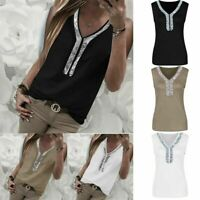 Women Plus Size Sequins Tank Top V-Neck Blouse Loose Daily Sleeveless T-Shirts