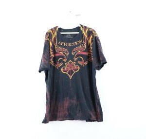 Affliction Signature Series Mike Vallely Mens XL Acid Wash Thrashed Shirt Black