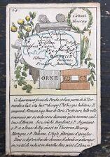 Carte géographique, XIXe s, Orne, Jeu, Alençon, Gravure ancienne, Perche, Map.