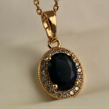 18ct Gold Filled Sapphire Blue & Clear CZ Crystal Oval Pendant Necklace UK N44