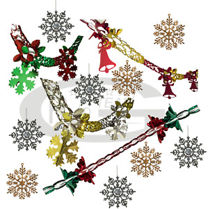 GARLANDS SNOWFLAKES CHRISTMAS PARTY WALL HANGING DECORATION CEILING HAPPY XMAS