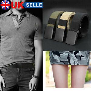 Mens Unisex Canvas Webbing Belt Regular Military Slider Buckle Army Belts 120cm