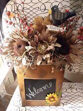 Fall Autumn Sunflower Metal Pocket Basket Pips Chalkboard Scarecrow Pumpkins
