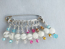 KNITTING STITCH MARKERS. HANDMADE BEADED. MILLEFIORI  + CRYSTAL BEADS  # 033