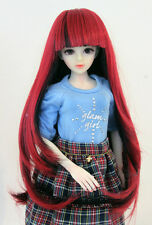 "1/6 bjd or 1/4 bjd 6-7"" doll wig red mixed black long hair dollfie"