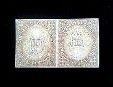 Guatemala 1871- 5c Brown Coat-Of-Arms Second pair reversed.Scott 2C$9000,Replica