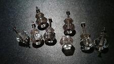 Vintage Antique Cut Glass Dresser Drawer pulls Lot of 8 Matching Grooved Knobs