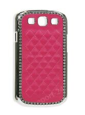 Luxury Golden Diamond Hard Case Leather Cover for Samsung Galaxy S3 I9300 - Pink