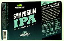 Green Flash Brewing SYMPOSIUM IPA beer label CA 22oz Hop Odyssey Ltd. Rel.