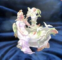 Antique C1910 German Dresden Figural Porcelain Beautiful Girl on Shell w/ Doves